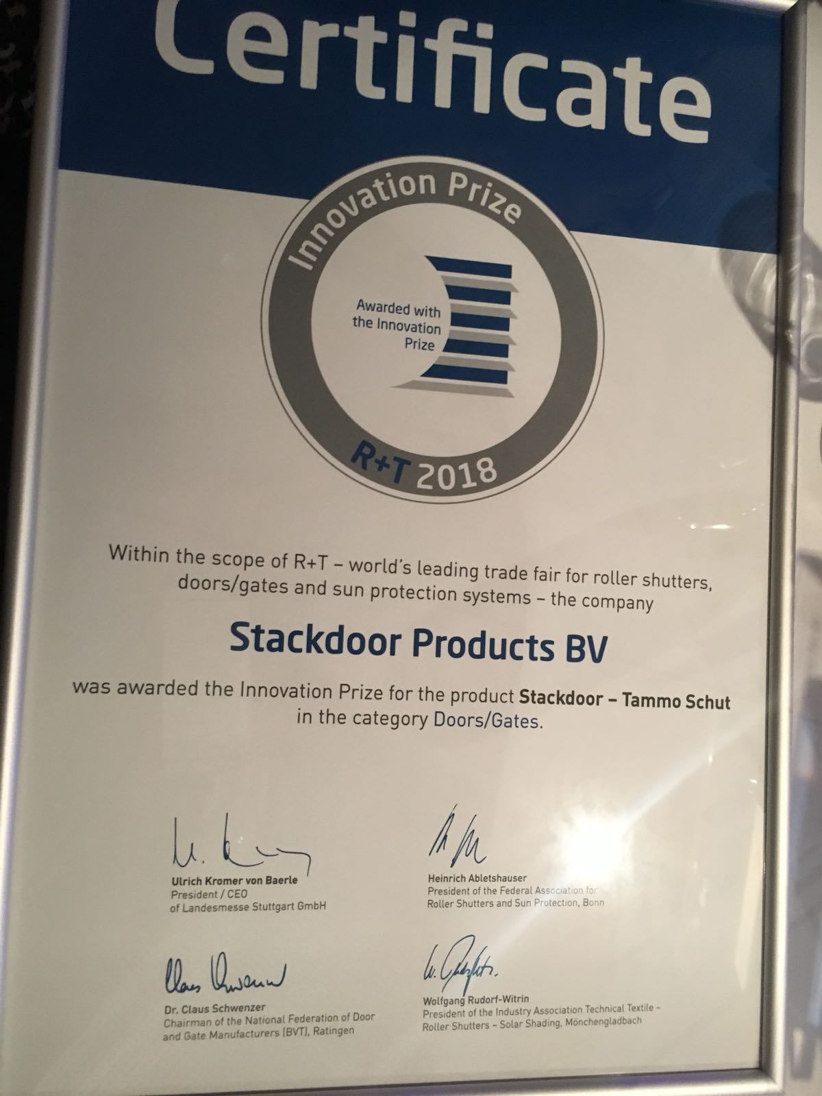 Stackdoor wins international price for shutters